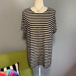 Talbots Textured Stripe Short Sleeve Top D8